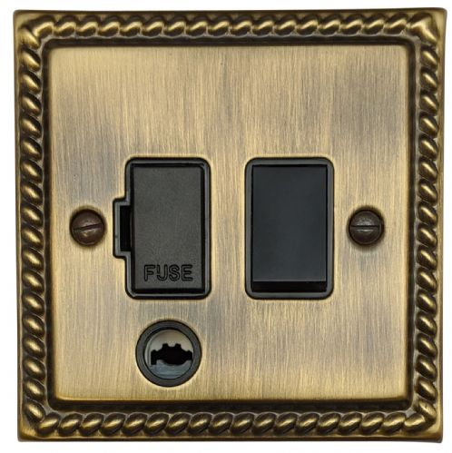 G&H MAB56B Monarch Roped Antique Bronze 1 Gang Fused Spur 13A Switched & Flex Outlet